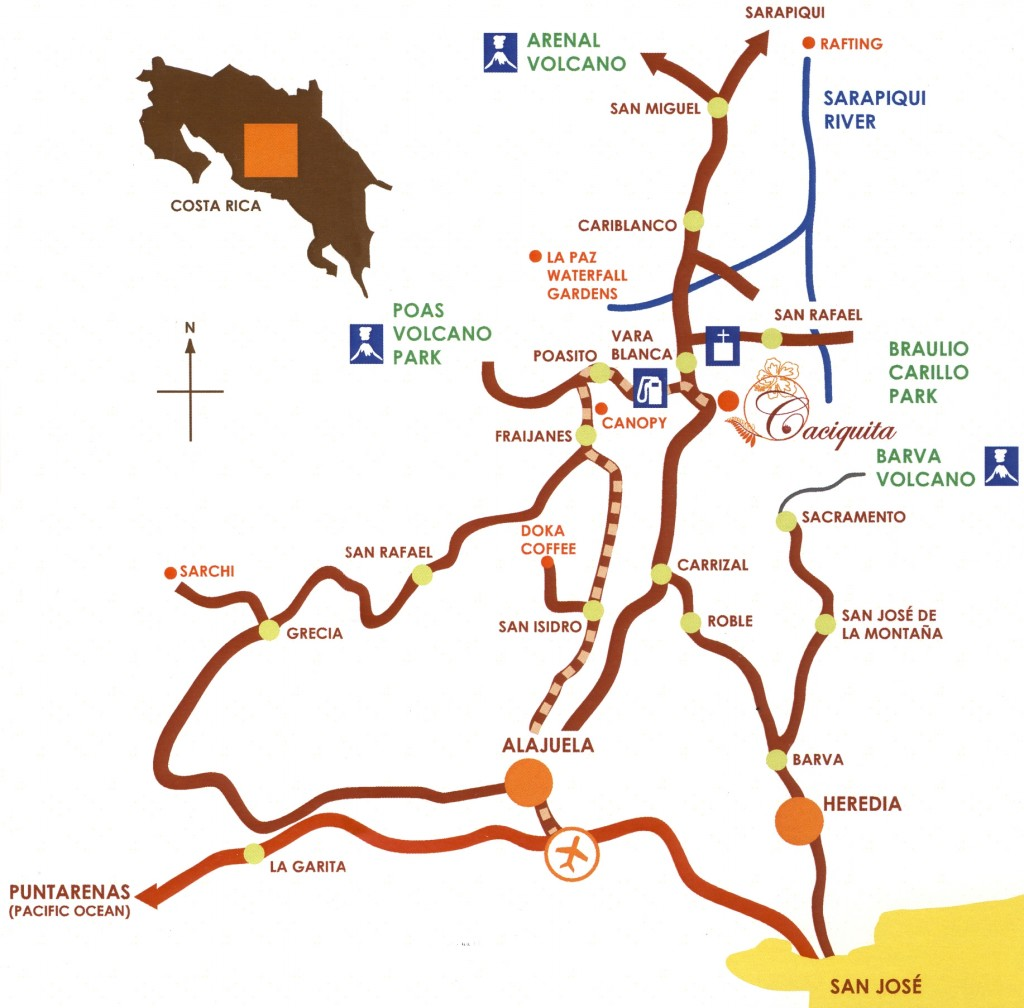 Map to get to Caciquita Lodge, Restaurant and bar with scenic view