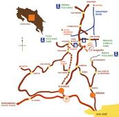 Mapa del Hotel Caciquita Lodge Costa Rica en Varablanca