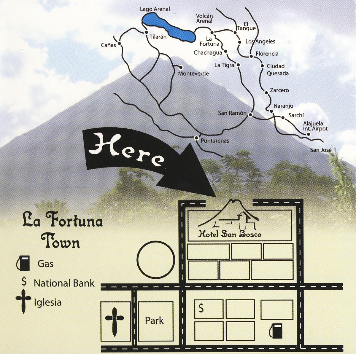 Mapa del Hotel San Bosco, La Fortuna de San Carlos, Alajuela, Costa Rica