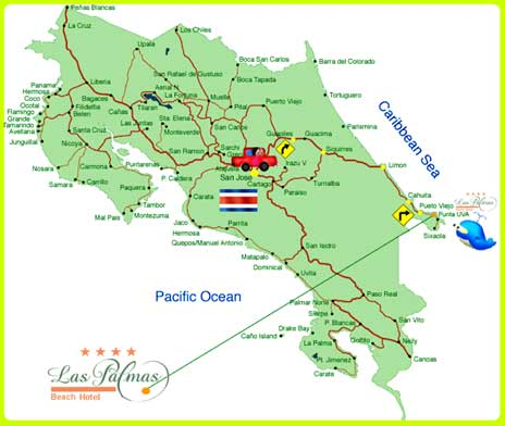 Mapa del Hotel Las Palmas, Punta Uva, Limón, Costa Rica