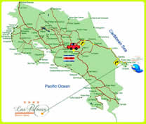 Mapa del Hotel MinOtel Las Palmas, Punta Uva, Puerto Viejo deTalamanca, Limón, Costa Rica