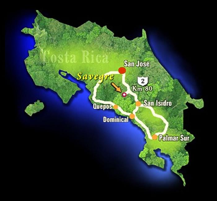 Mapa del Hotel de Montaña Savegre en San Gerardo de Dota, Costa Rica