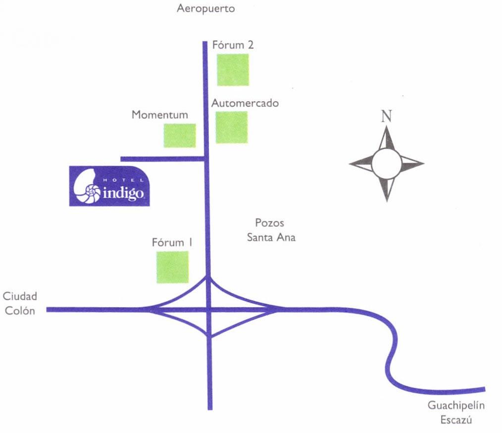 Mapa del Hotel Indigo San José Fórum Costa Rica