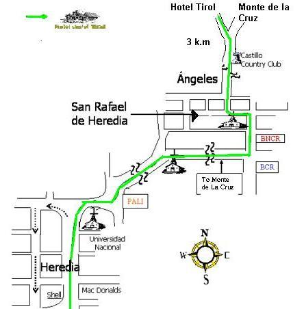 Mapa del Hotel Chalet Tirol, Costa Rica